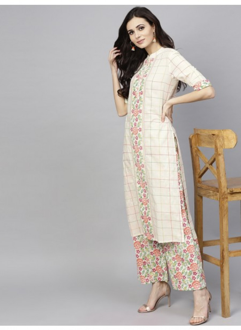 White Checkered Straight Kurta With Palazzo