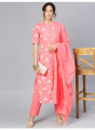 Pink Printed Set With gold detailing And Dupatta