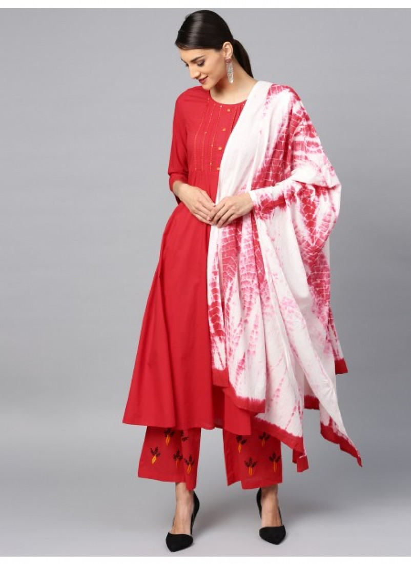 Red Embroidered Anarkali Palazzo with Dupatta